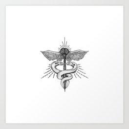 Neuroelectric Caduceus Art Print