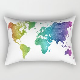 World map in watercolor rainbow Rectangular Pillow