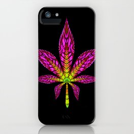 Pink and Yellow Psychedelic Cannabis Leaf iPhone Case