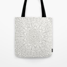Gray Circle of Life Mandala on White Tote Bag