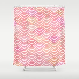dragon fish scales simple pattern Nature background with japanese wave Shower Curtain