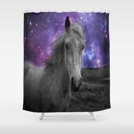 Horse Rides & Galaxy skies muted Shower Curtain