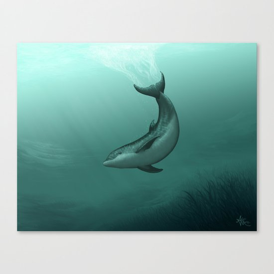 """Siren of the Lagoon"" by Amber Marine ~ Indian River Lagoon Bottlenose Dolphin Art, (c) 2015 Canvas Print"