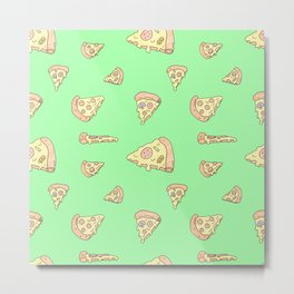 Perfect Pizza Slices! - The Mean Green Metal Print