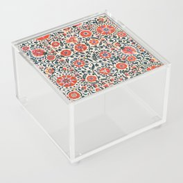 Shakhrisyabz Suzani  Uzbekistan Antique Floral Embroidery Print Acrylic Box