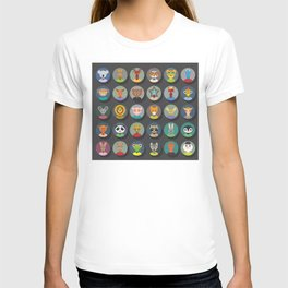animals faces circle icons set in Trendy Flat Style. zoo T-shirt