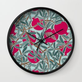Pomegranates, Fruit, Leaves, Branches in Teals and Fuchsia Wall Clock