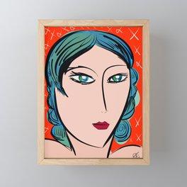Red Blue Girl Fauve and Pop Framed Mini Art Print