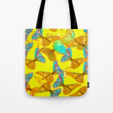 Butterflies - turquoise wings - yellow background #Society6 #buyart Tote Bag