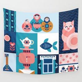 Modern Russian Folk Art Wall Tapestry