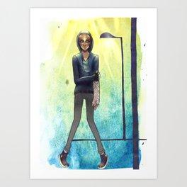 rainy boy Art Print