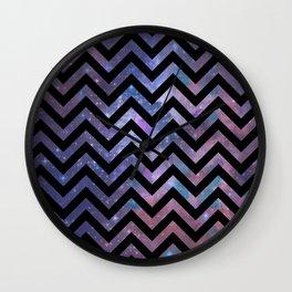 Modern abstract black pink blue violet chevron nebula Wall Clock