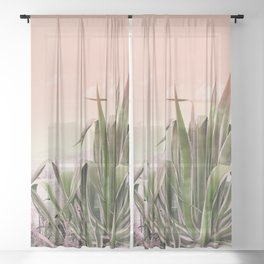 Agave in the Garden on Pastel Coral Sheer Curtain