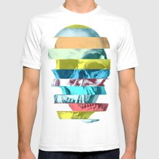 Striped Glitch Skull White MEDIUM Mens Fitted Tee