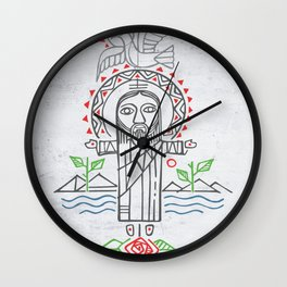 Jesus Christ in indigenous style Wall Clock