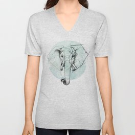 Elephant sketch // Aqua Blue Unisex V-Neck