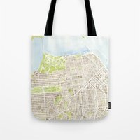 san francisco map Tote Bags featuring San Francisco CA City Map  by Anne E. McGraw