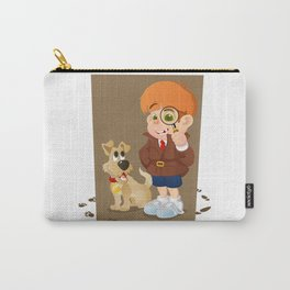 Smart young cartoon detective boy and his dog Carry-All Pouch