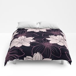 Black and pink autumn dahlia flowers Comforters