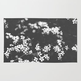 Little White Wildflowers Black and White Photography Rug