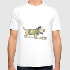 A Painting Dog MEDIUM Mens Fitted Tee White