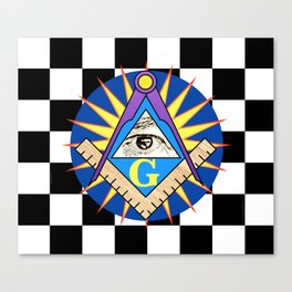 Masonic Square & Compass On Blue Disc Canvas Print