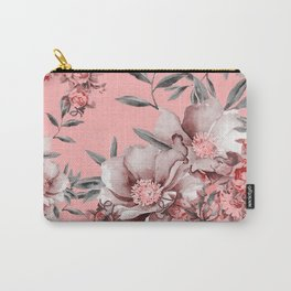 Peach Red and Gray Floral Carry-All Pouch