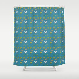 Chickens and Sunflowers Shower Curtain