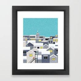 City with snow Framed Art Print