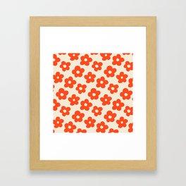 Retro 60s 70s Flower Pattern #pattern #vintage #poppy Framed Art Print