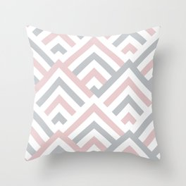 Pink + Gray | Brentwood Abstract Art Throw Pillow