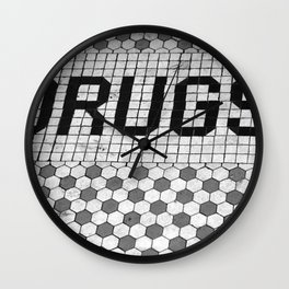 DRUGS Tiled Pharmacy Doorstep Wall Clock