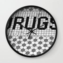 DRUGS Tiled Pharmacy Doorstep Wall Clock