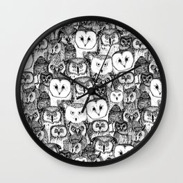 just owls black white Wall Clock