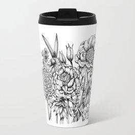 Black and White Flower Bouquet - Ink Travel Mug