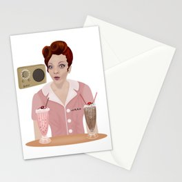 Pinup waitress with radio and milkshakes Stationery Cards