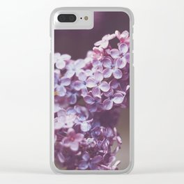 Purple Flowers Lilac Branch Raindrops Outdoors Clear iPhone Case