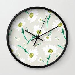 White Daisy Wall Clock