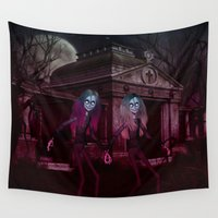 sisters Wall Tapestries featuring Ghoulish Sisters by apgme