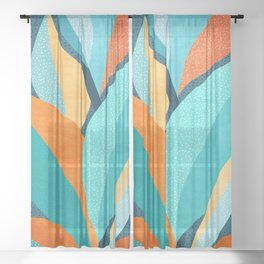 Abstract Tropical Foliage Sheer Curtain