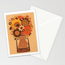Flower Bloom 70s 60s Retro Vase  Stationery Cards