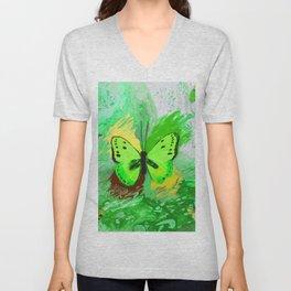 Neon Green Butterfly Unisex V-Neck