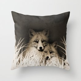 Fox and love Throw Pillow