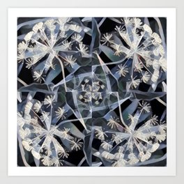 Blue Gray Dark Flower Garden Design Art Print