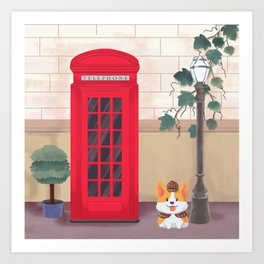 Britain London Corgi Art Print
