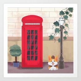 Britain London Corgi Art Print