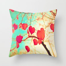 Beating heart-shaped leafs Throw Pillow