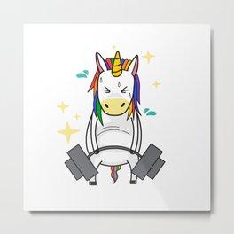 Weight-lifting Unicorn Metal Print