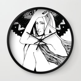 The girl looks into infinity Wall Clock