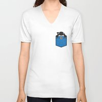 pocket V-neck T-shirts featuring Pocket Whale by Steven Toang